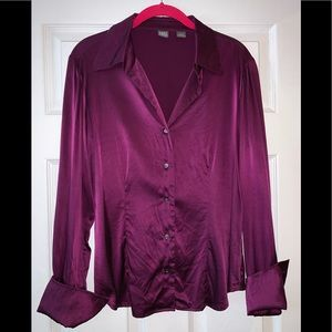 Saks Fifth Avenue purple silk, satin blouse
